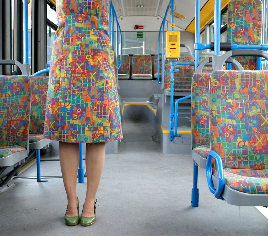 Одежда Haute Couture из ткани для автобусных сидений