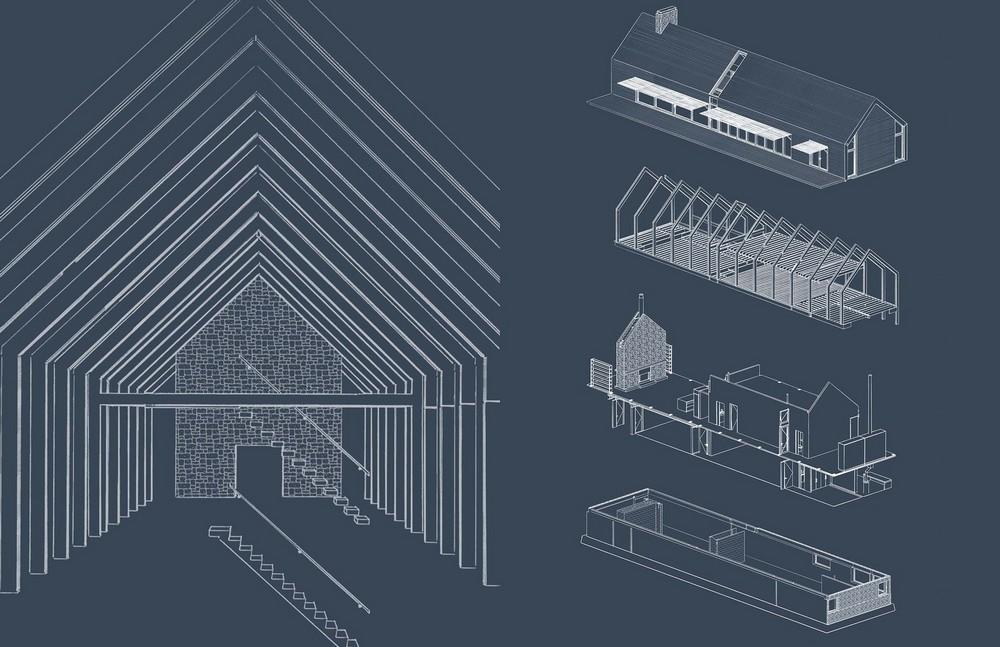 Простой линейный дом в долине реки Гудзон в США