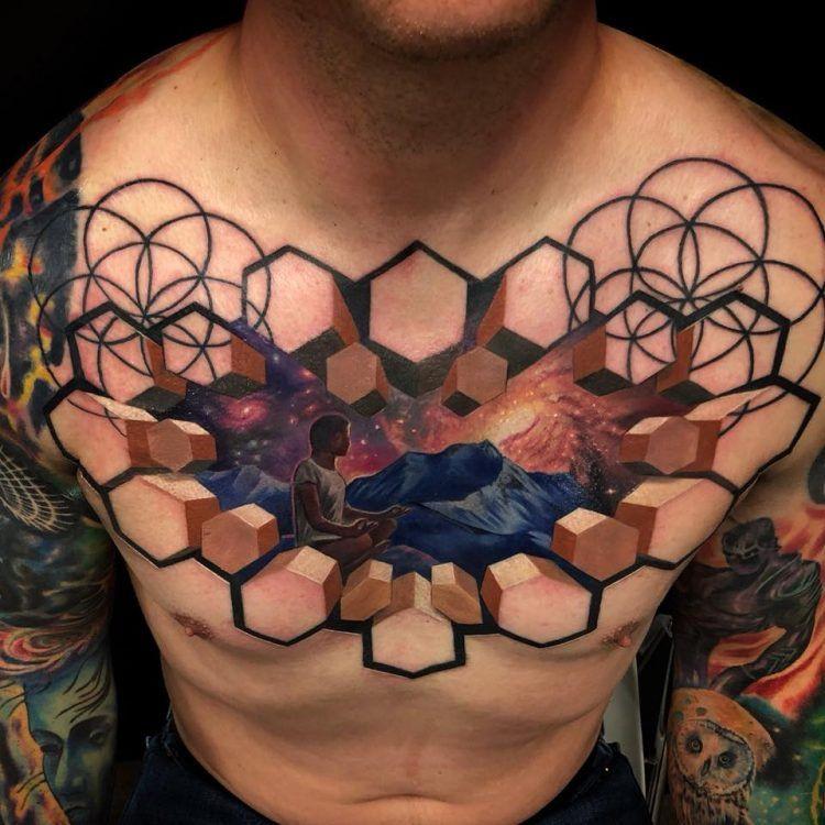 Реалистичные татуировки в виде трехмерных оптических иллюзий