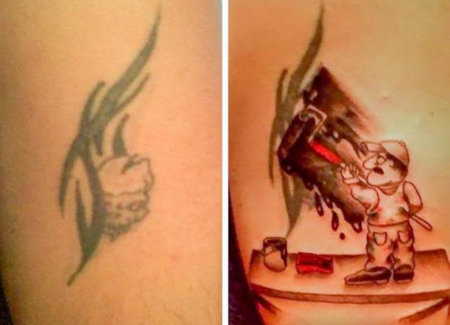 Татуировки до и после доработки мастерами