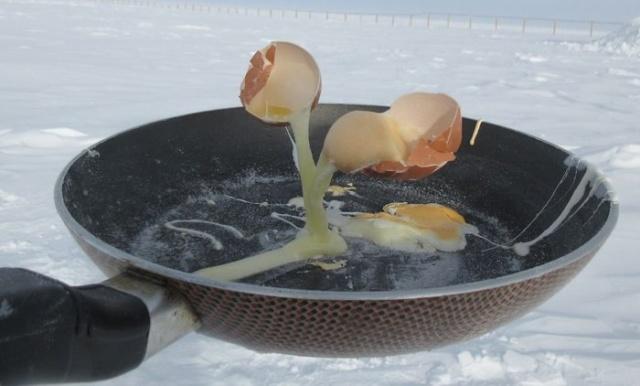 Различная еда на морозе в -60 градусов