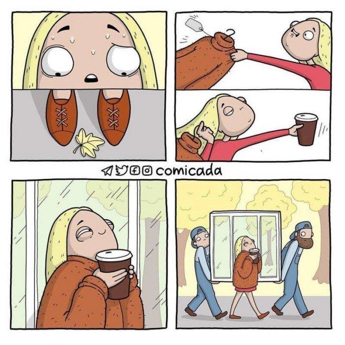 Забавные комиксы о повседневных ситуациях с ноткой абсурдного юмора