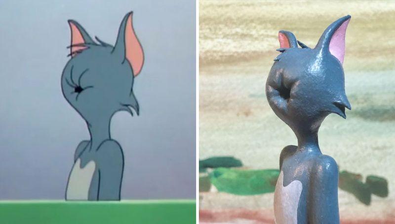 Неудачные моменты мультяшного кота Тома в мини-скульптурах
