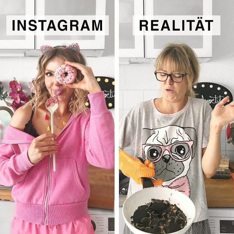 Девушка стебется над идеальными снимками из Инстаграма