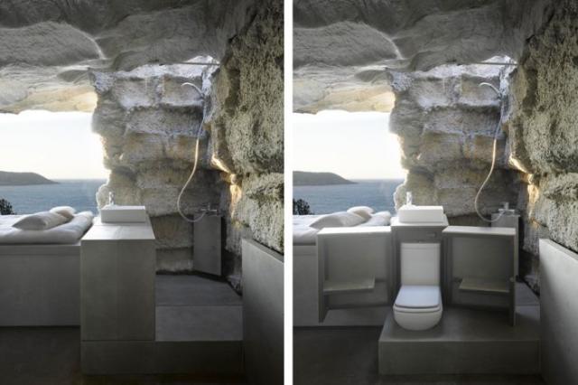 Жилой дом внутри камня