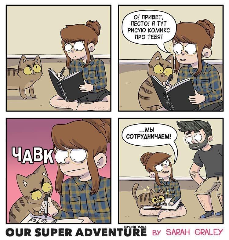 Британка рисует комиксы о своей жизни с котами и молодым человеком