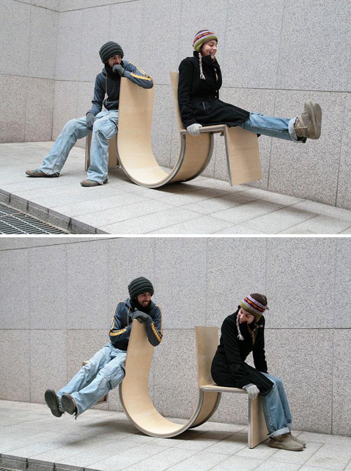 Необычные дизайнерские уличные скамейки