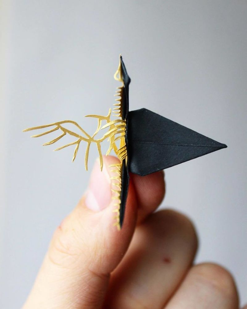 Удивительные бумажные журавлики в разных техниках