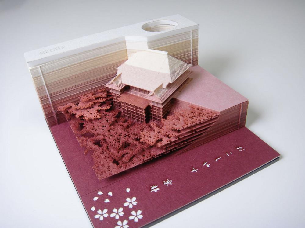 Отрывной блокнот из Японии, который превращается в бумажную скульптуру