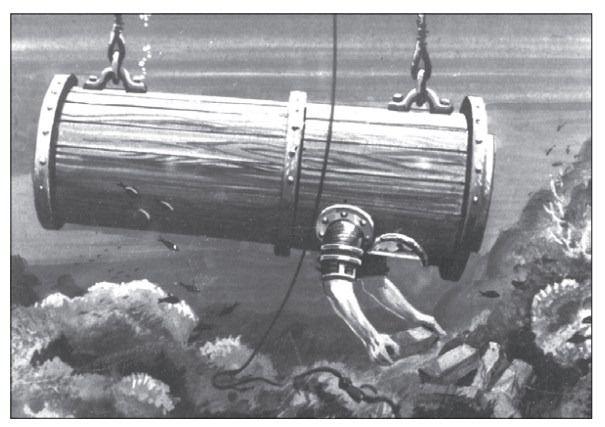 Первый в мире аппарат для погружения под воду