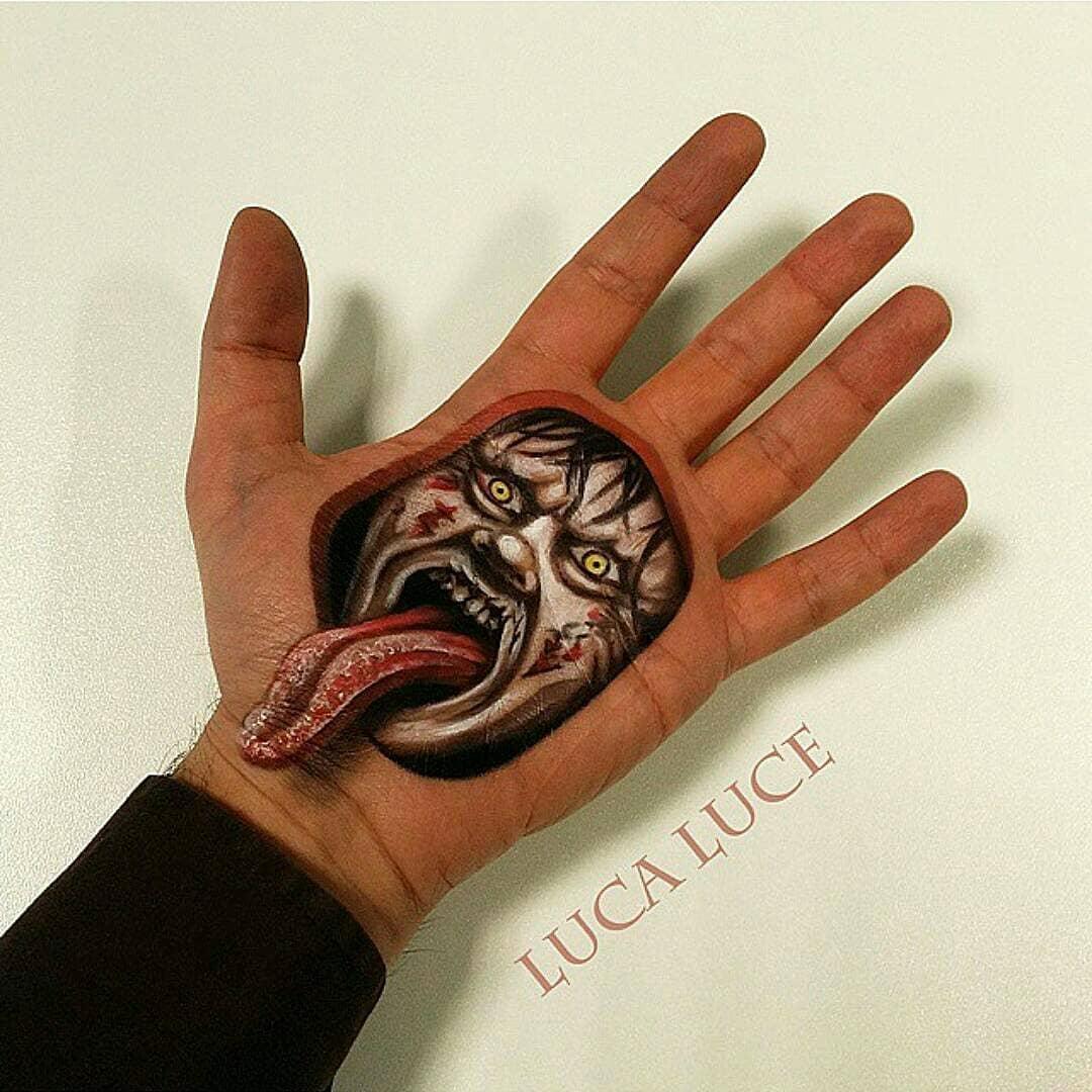 3D-иллюзии на лице и руках итальянского художника