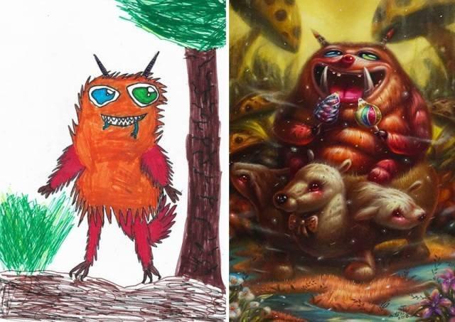 Профессиональные иллюстраторы перерисовывают детские рисунки