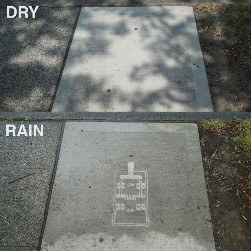 Рисунки, которые проявляются только во время дождя
