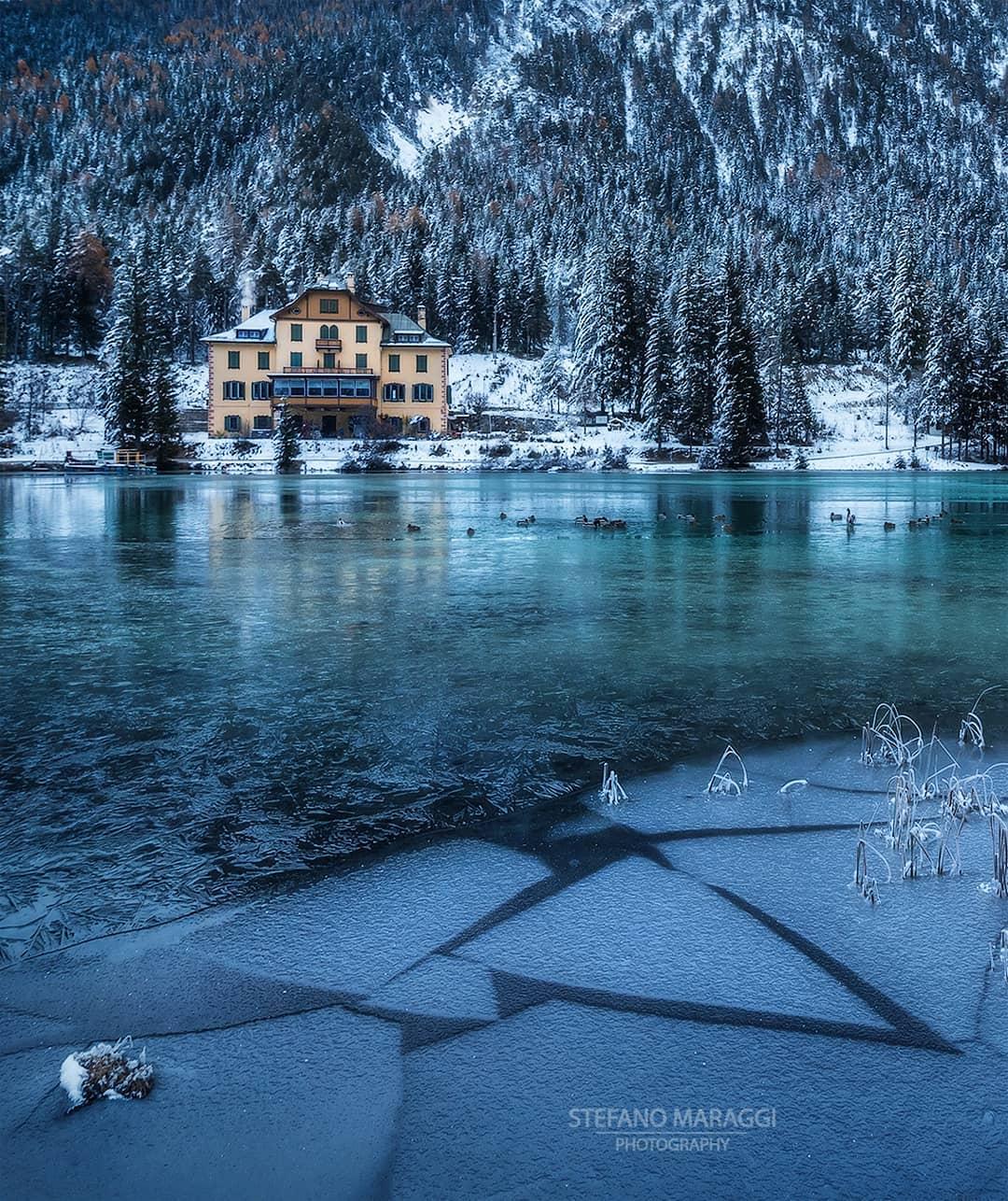 Великолепные зимние пейзажи в Доломитовых Альпах от Стефано Мараджи