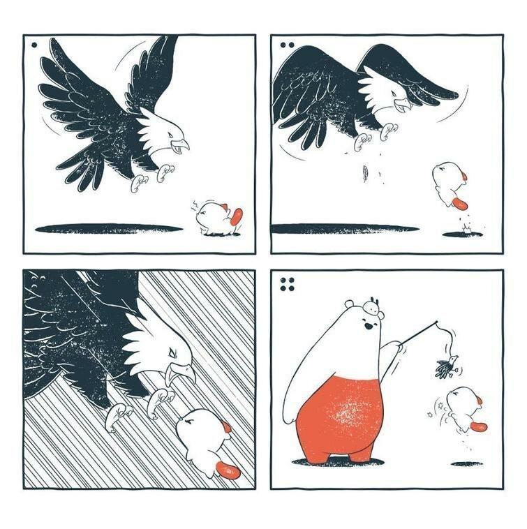 Забавные и иногда мрачноватые комиксы про медведя и его друзей