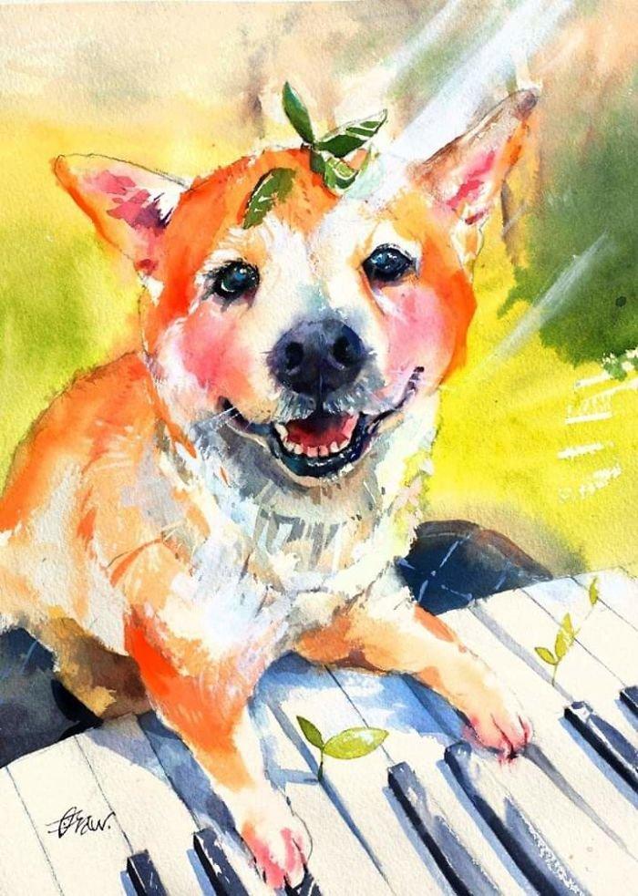 Акварельные рисунки собак от художника Draw An