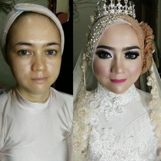Азиатские невесты до и после свадебного макияжа