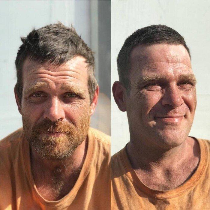 Парикмахер делает стрижки бездомным и превращает их в настоящих красавцев