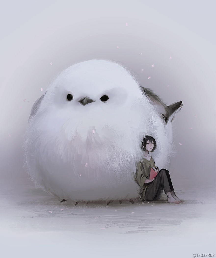 Японский иллюстратор изображает мир с гигантскими животными