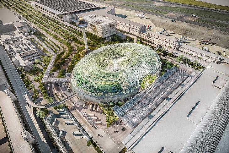 Уникальное сооружение Jewel Changi Airport в известном аэропорту