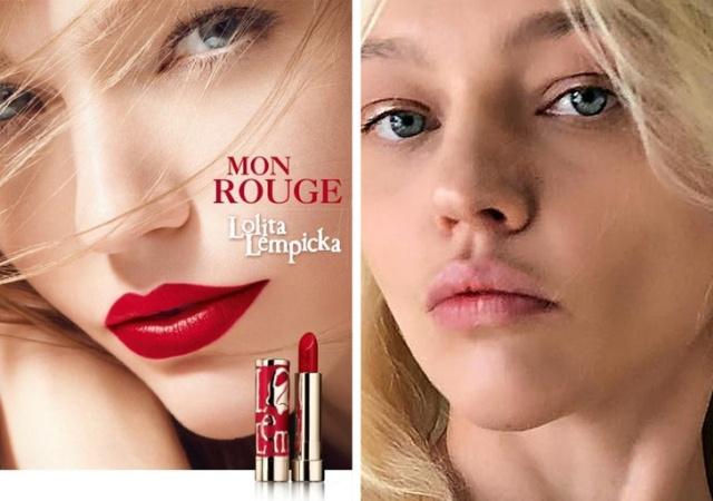Kozmetikai reklámmodellek sminkkel és anélkül