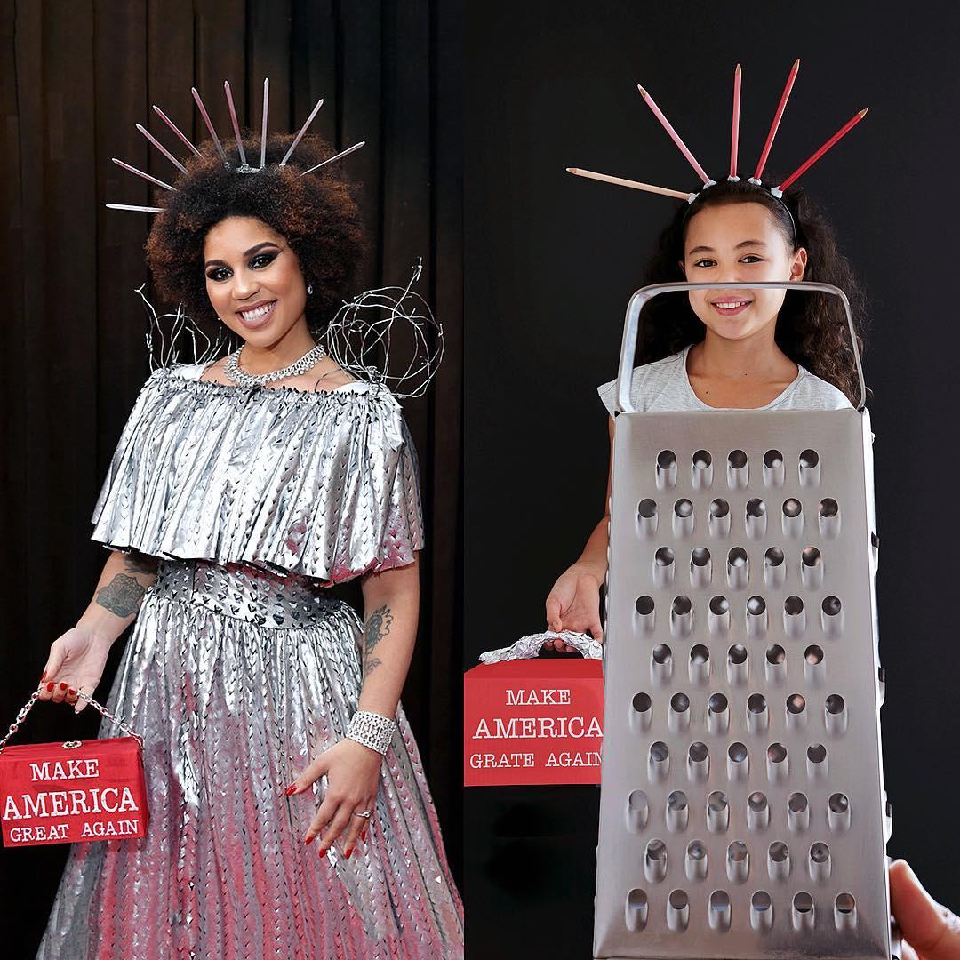 Юная австралийка воссоздает образы знаменитостей из подручных материалов