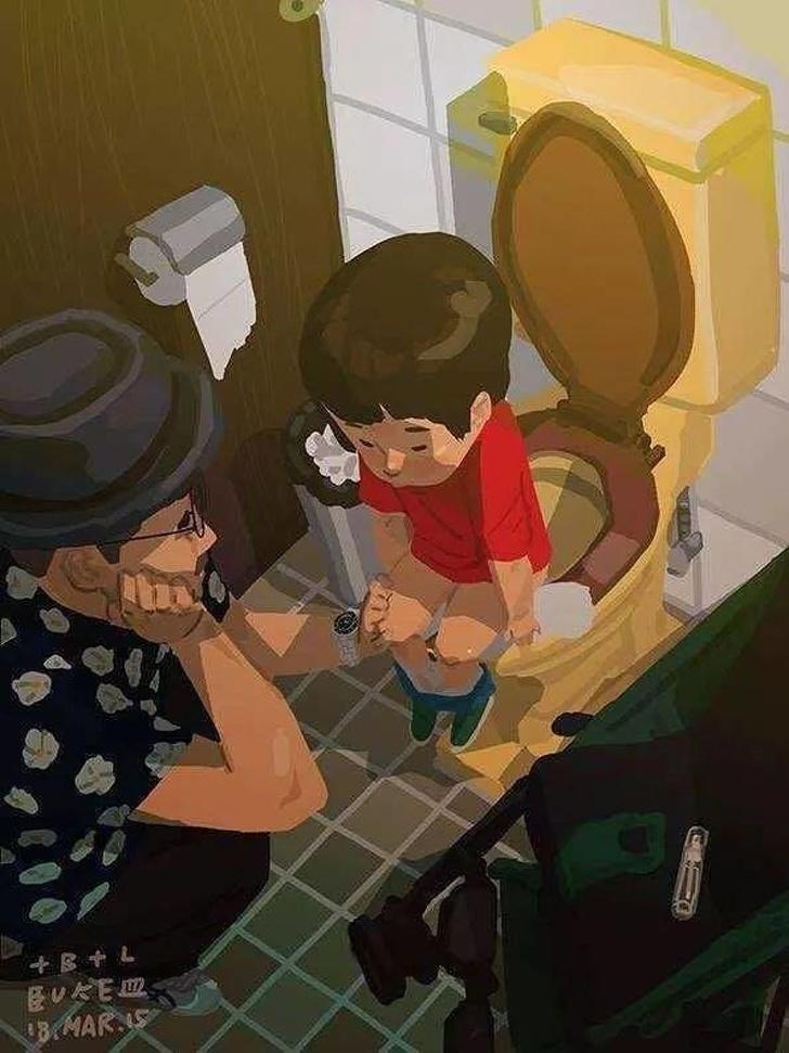 Трогательные иллюстрации о жизни отца-одиночки