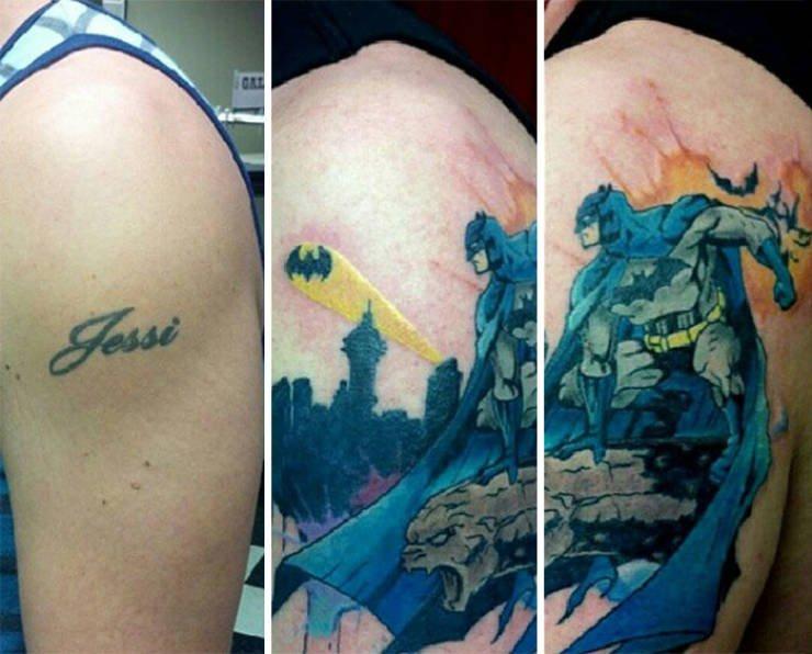 Кавер-ап татуировки закрыли старые, посвященные бывшим