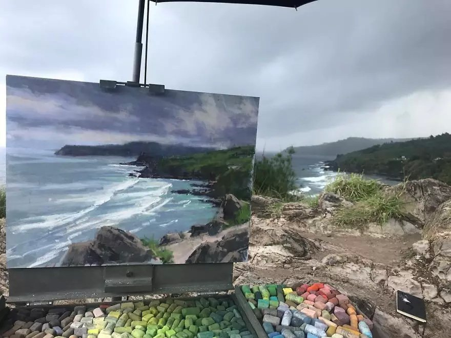 Художник Аарон Шерр вписывает изображения пейзажей в саму природу