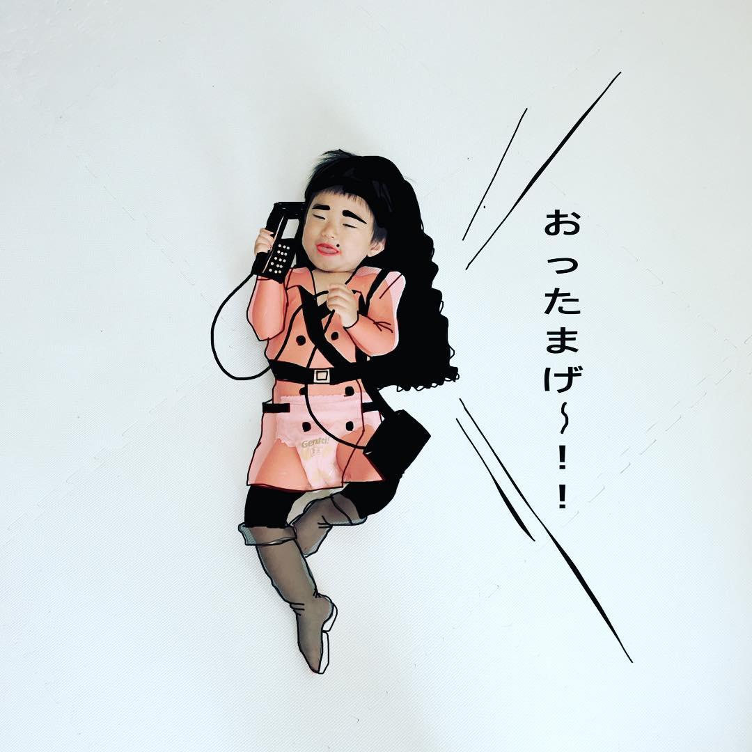 Папа из Японии вписывает своих детей в сюрреалистические иллюстрации