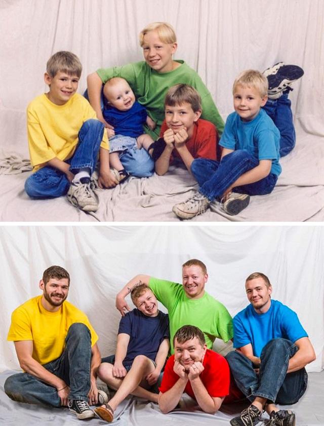 Они воспроизвели свои старые снимки из семейного альбома