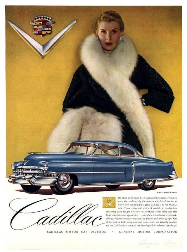 Женщины на рекламных постерах Cadillac начала 50-х годов