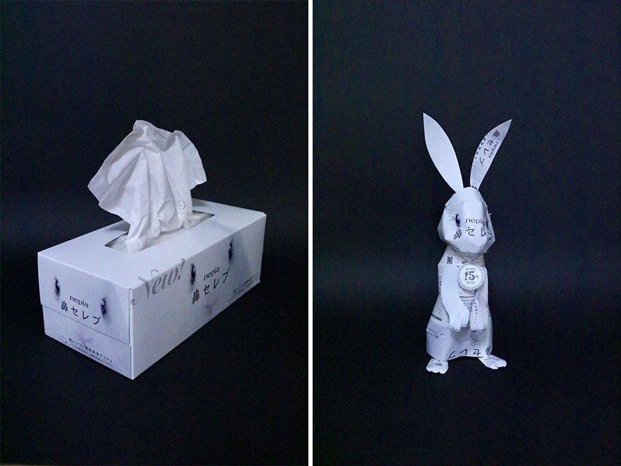 Японец создает произведения искусства из упаковок от продуктов