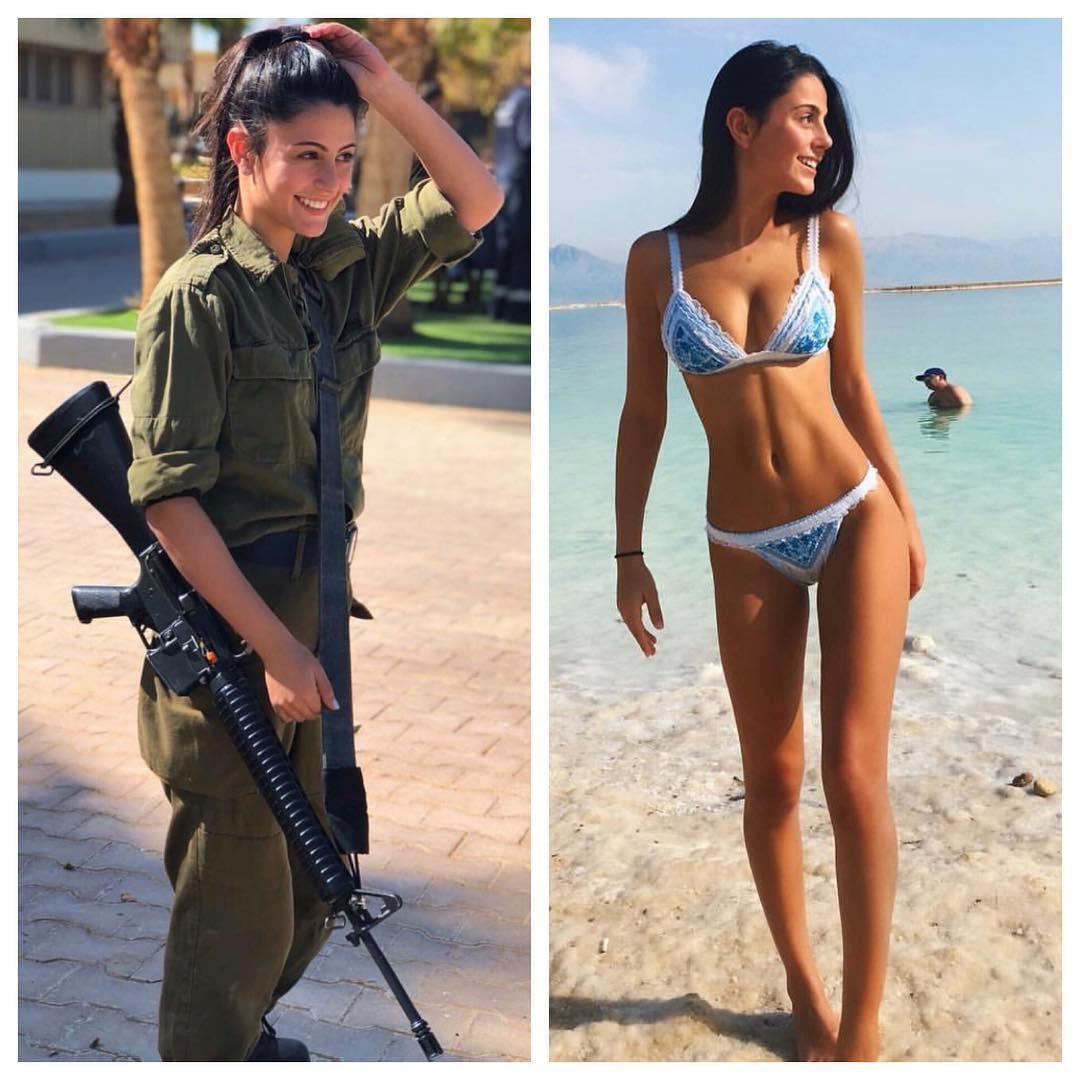 Девушки-военнослужащие израильской армии в форме и без неё