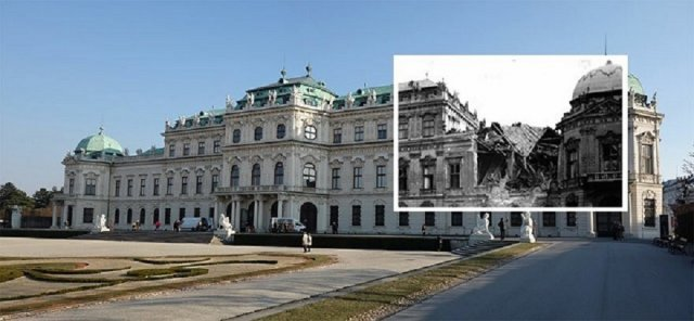 Архивные снимки Вены прошлого века и фото современной столицы