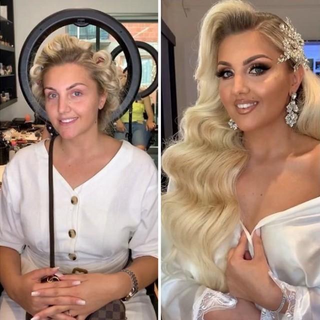 Невесты до и после профессионального макияжа на снимках
