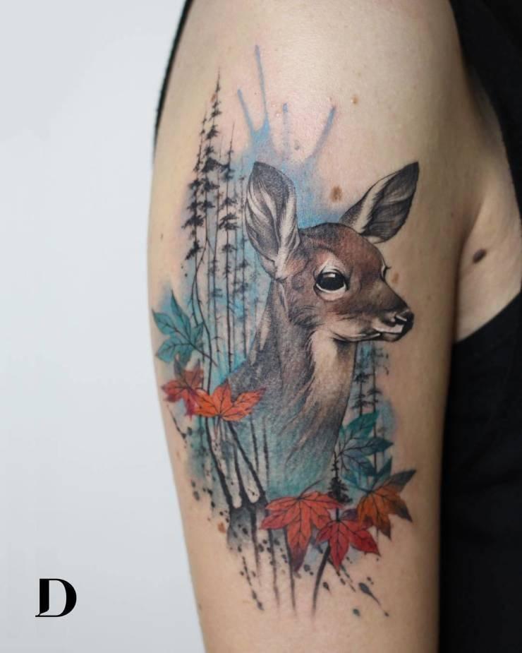 Татуировки в стиле акварели