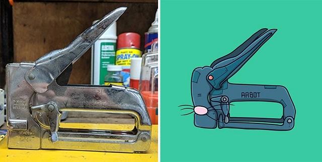 Художник превращает различные предметы в забавных персонажей
