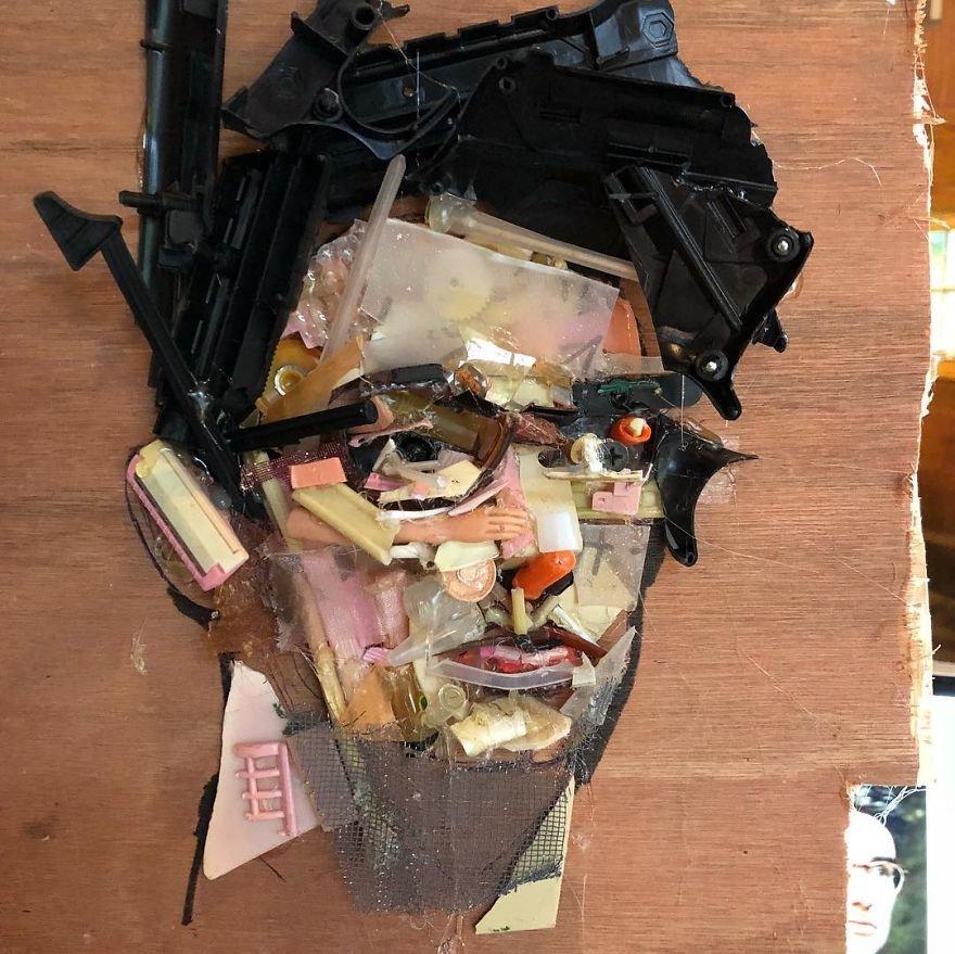 Художник создаёт впечатляющие скульптуры из мусора, найденного на пляжах