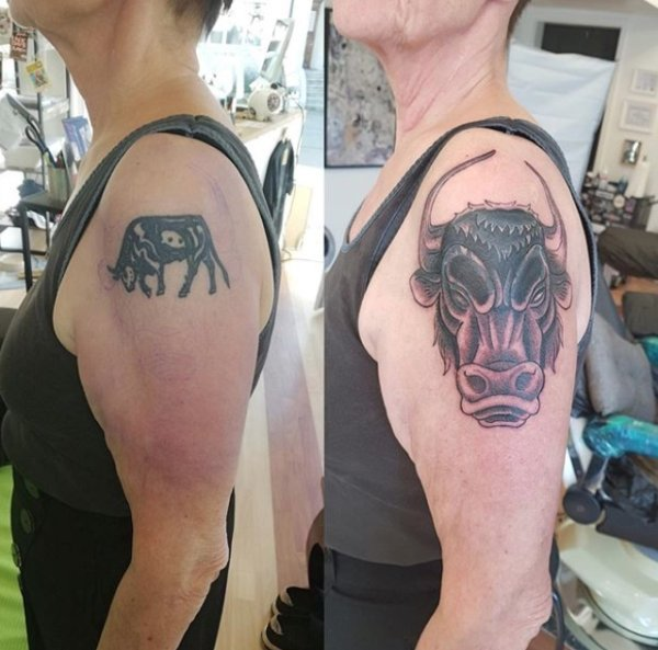 Впечатляющие кавер-ап татуировки