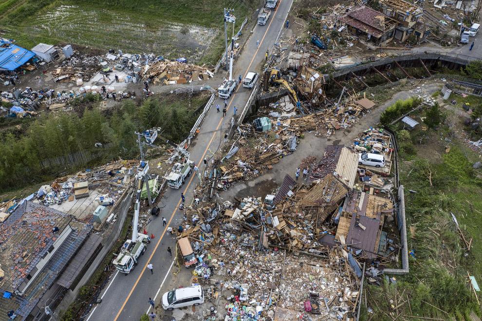 Последствия тайфуна Хагибис, обрушившегося на Японию