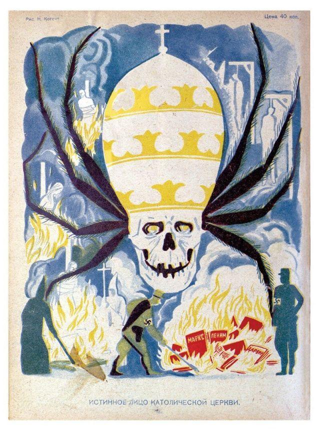 Плакаты из книги о советской антирелигиозной пропаганде