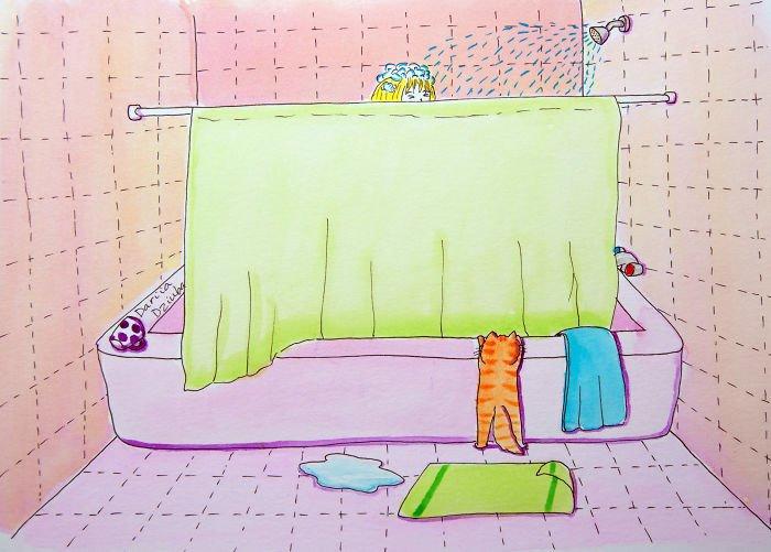 Акварельные рисунки о повседневной жизни с кошкой