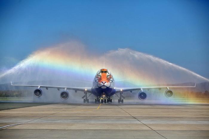 Для чего над самолетами включают мощные струи воды на взлетной полосе