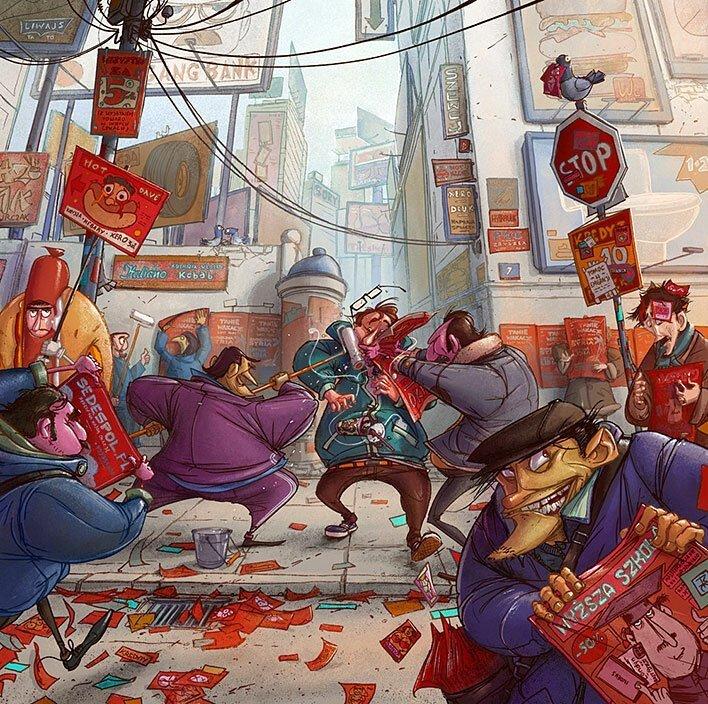 Необычные иллюстрации с чёрным юмором от польского художника