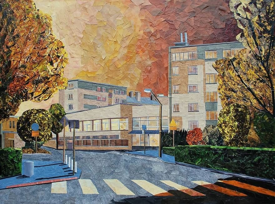 Городские пейзажи с эффектом масляной живописи из бумаги и клея