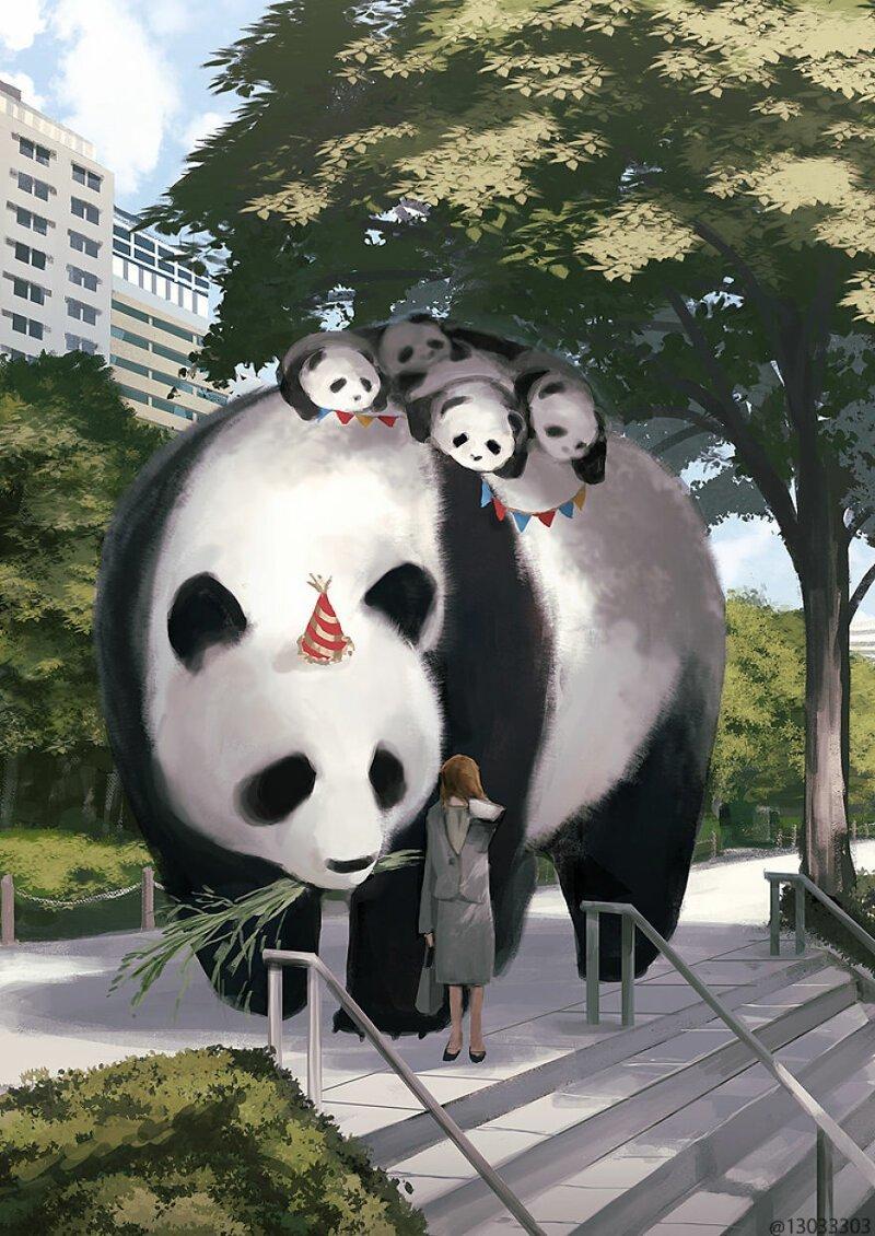 Японская художница создала волшебный мир с огромными животными