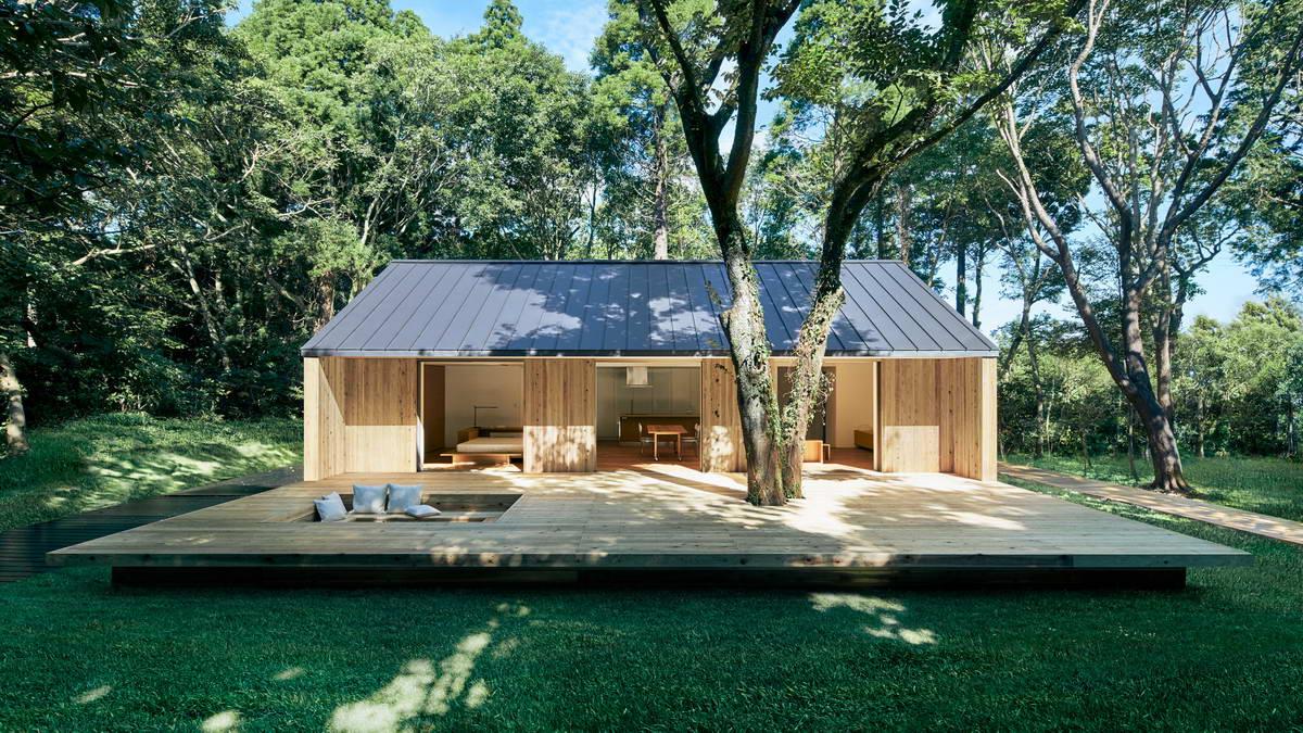Одноэтажный сборный дом для отдыха в Японии