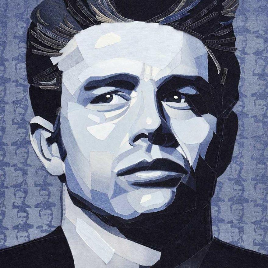 Портреты знаменитостей из джинсовой ткани