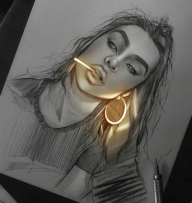 Мексиканский художник добавляет на свои рисунки свет